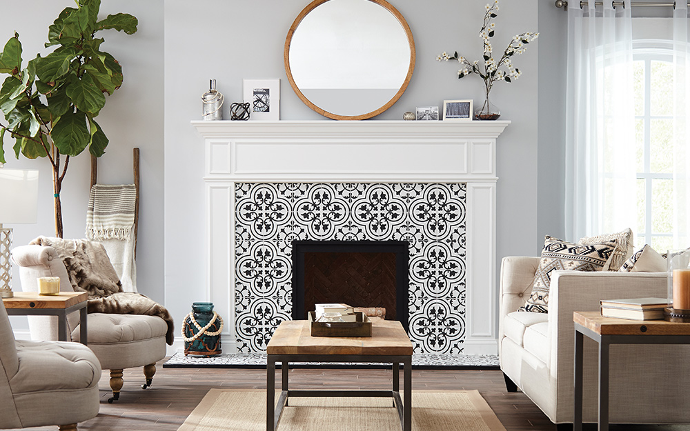 A mosaic tile pattern gives a fireplace a more contemporary look.