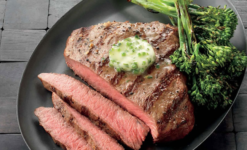 Flat Iron Steaks With Herb Butter and Grilled Broccolini Recipe