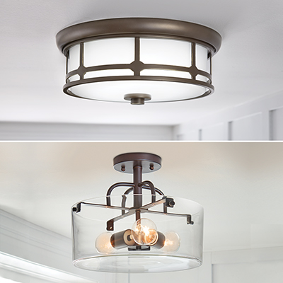 a collage of flush and semi-flush mount lighting fixtures