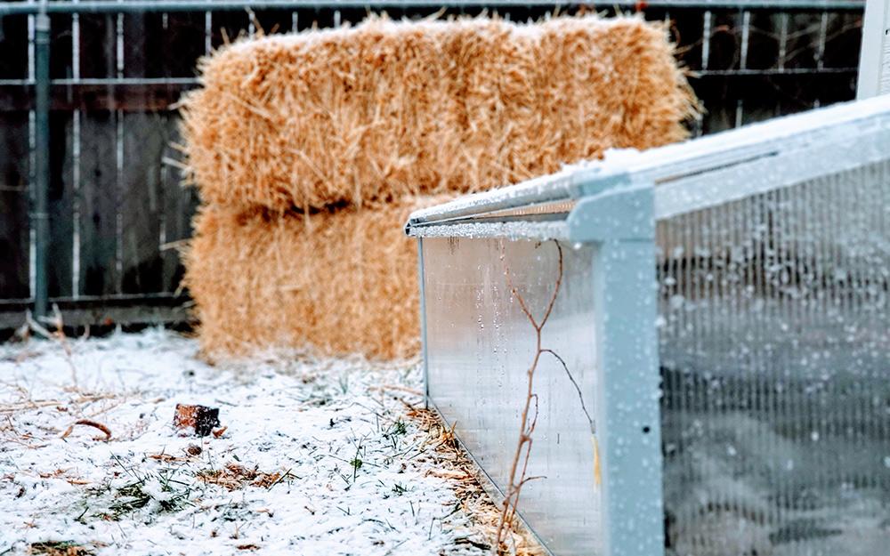 Cold garden frame in the snow.