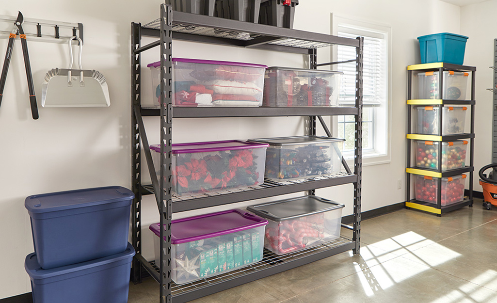 garage shelving with plastic storage tubs