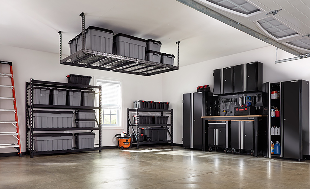 more garage storage solutions, including matching cabinets
