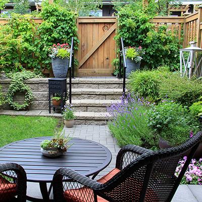 a lush garden patio