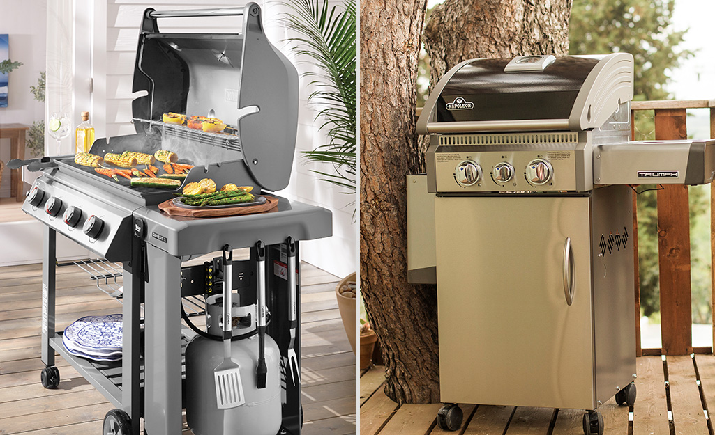 A propane grill (left) stands alongside a natural gas grill (right).