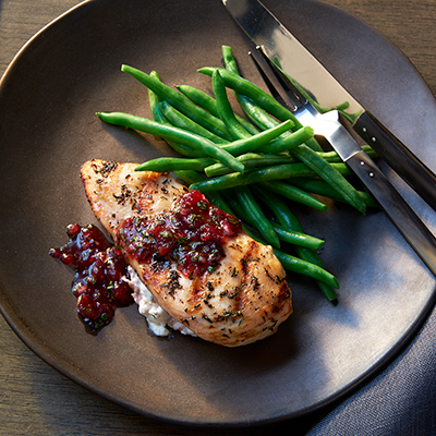 Goat Cheese Stuffed Chicken Breasts with Cranberry Salsa Recipe