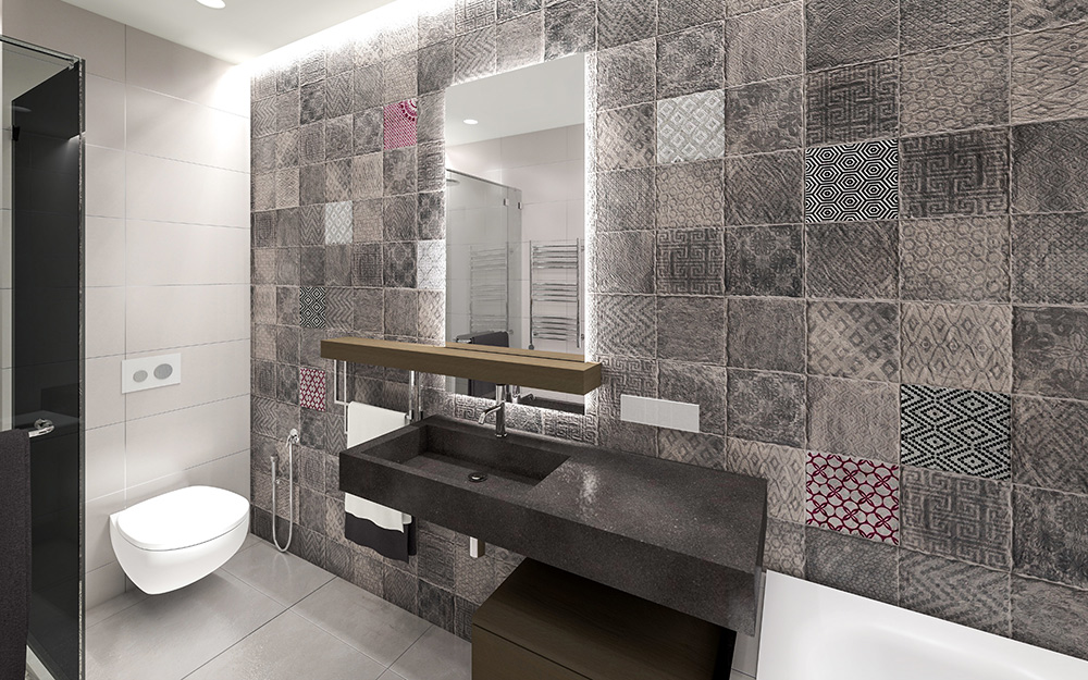 gray bathroom with mixed gray bathroom tile