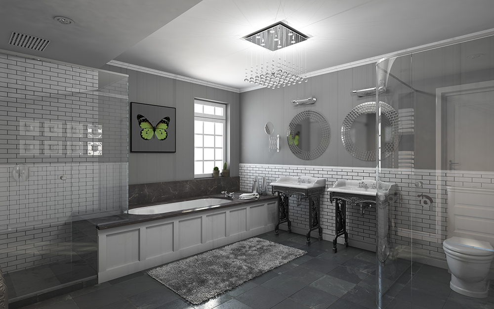 gray bathroom with silver and gray bathroom accessories