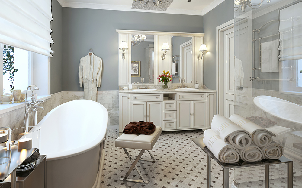 classic style glam gray bathroom with silver accents