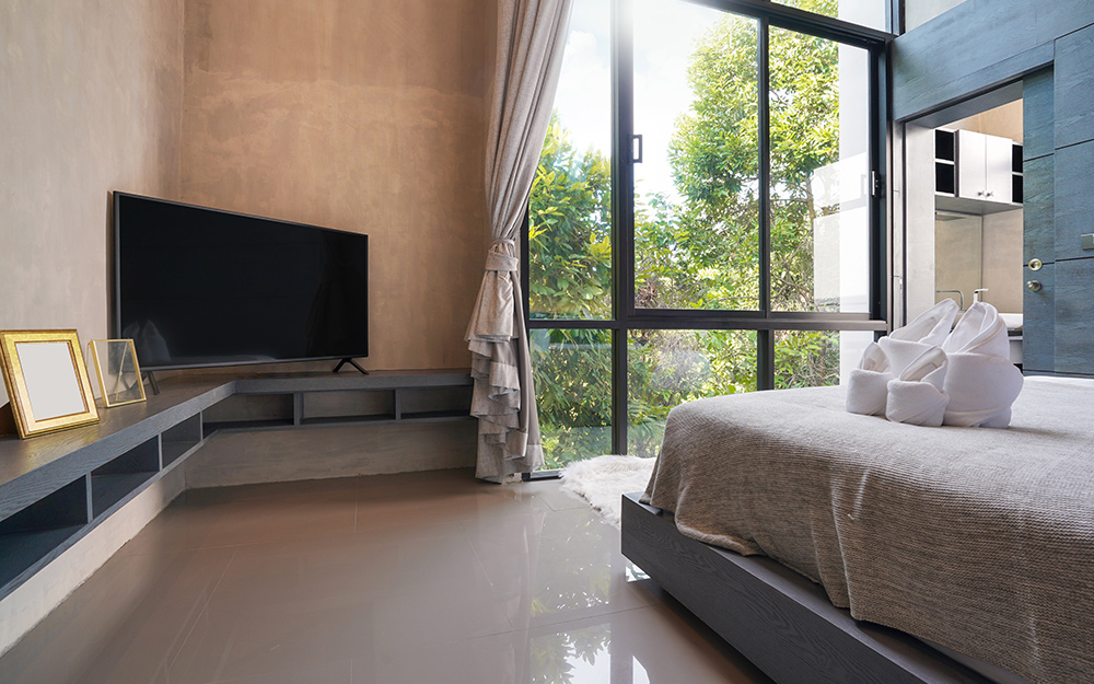 guest bedroom with television