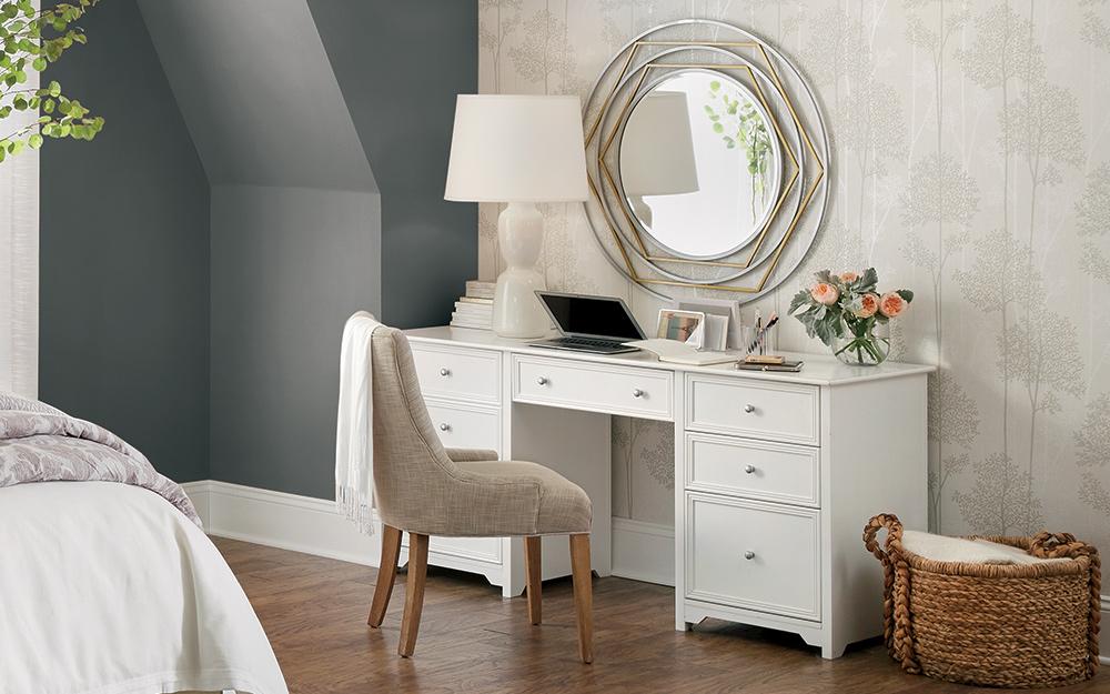 work desk in guest bedroom
