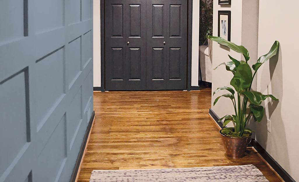 Một hành lang hẹp với một cây trồng trong đó.