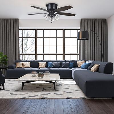 A Hampton Bay ceiling fan in a living room.