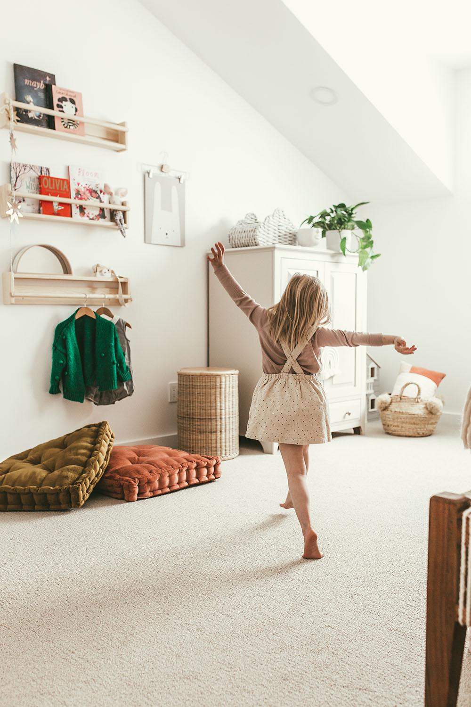 A person dancing in bedroom