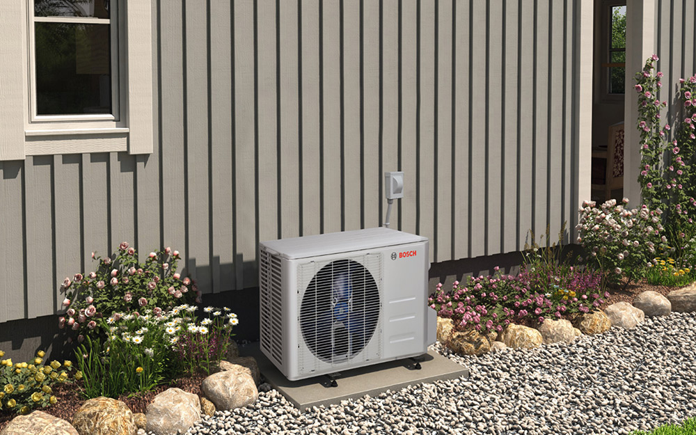An air conditioner unit outside the house