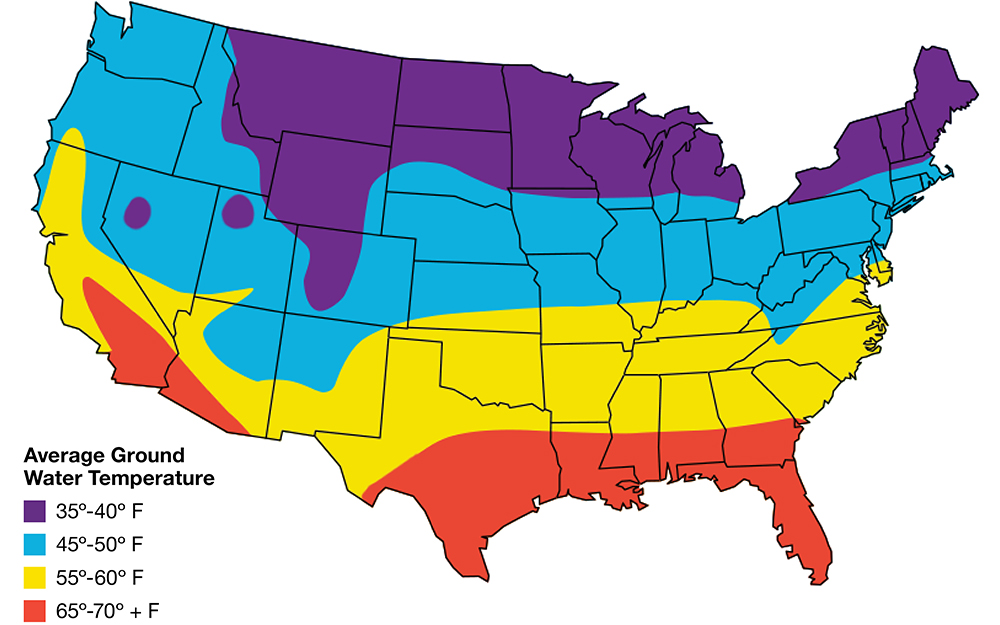 A map displays average ground temperature across the United States.