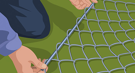 Tension bar mesh - Hanging Chain-Link Gate