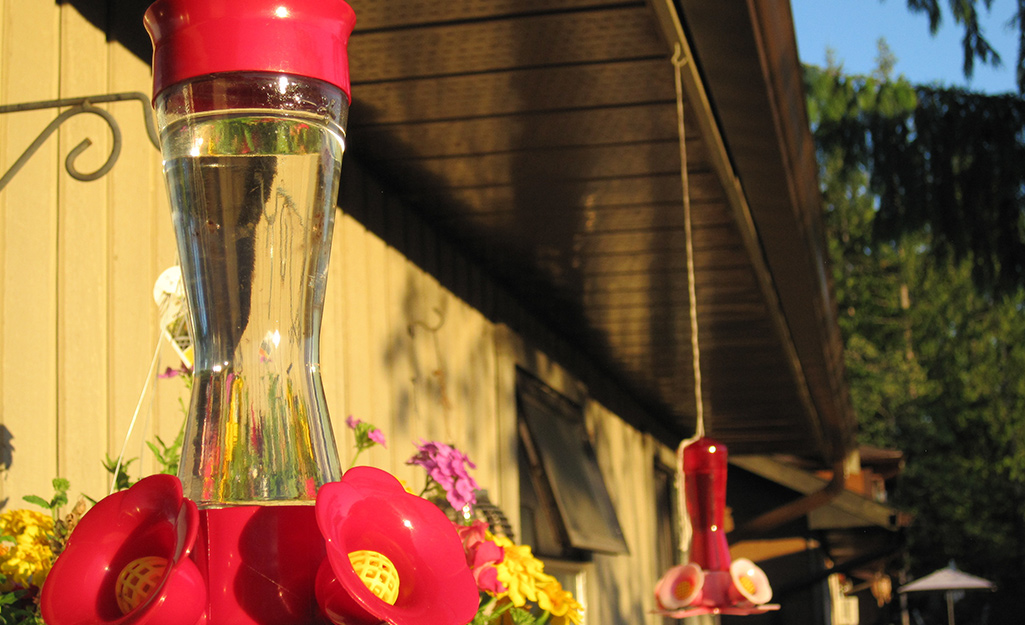 Two red hummingbird feeders hanging outside a house with flowers behind them.