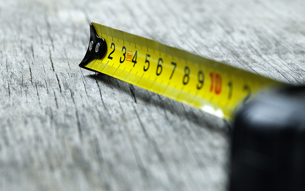 An extended tape measure.