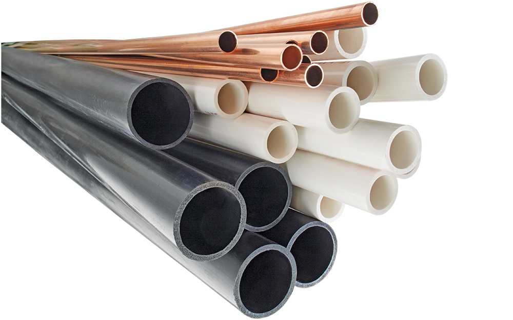 Pipe and tubing of different sizes and materials.