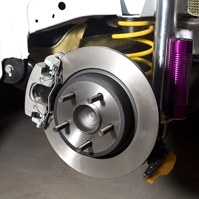 Exposed brakes on a vehicle
