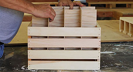 Place the inserts inside the crate- Build Beverage Crate