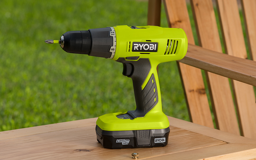 A cordless Ryobi drill