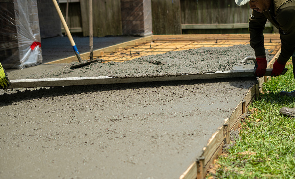 Concrete being poured to form a deck.