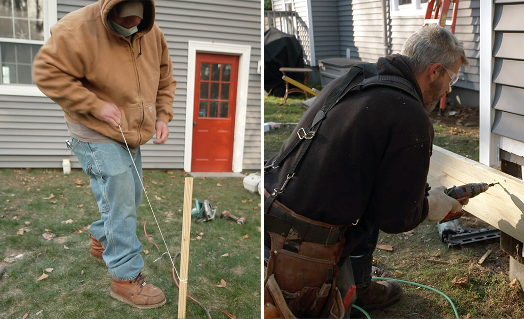 Dual image of a man using batter board to plan footing and a man attaching ledger board to a home.
