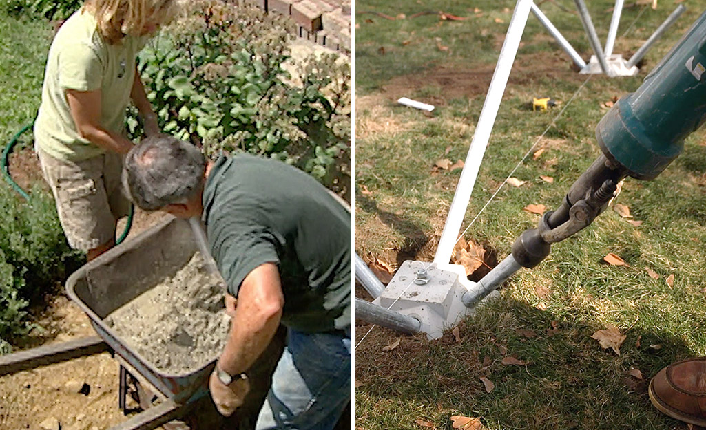 Dual image of two people mixing concrete for poured footings and using a hydraulic hammer to drive in steel rods to a pin-pile footing.