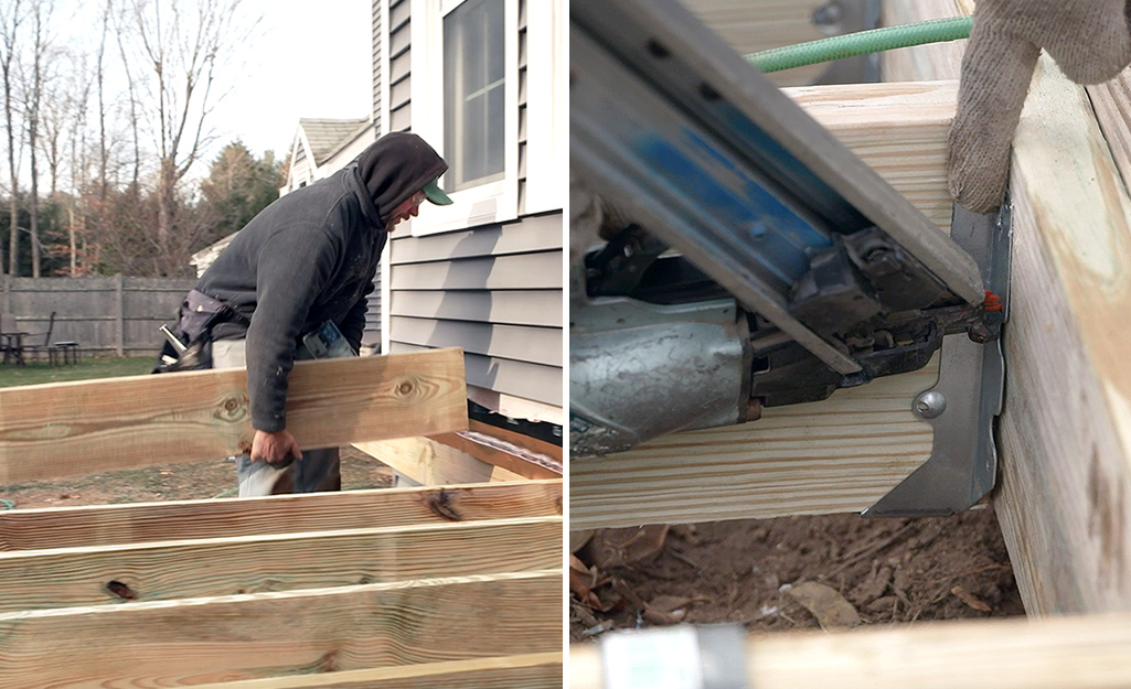 Dual image of a person installing joists onto a ledger board and installing joist hangers.