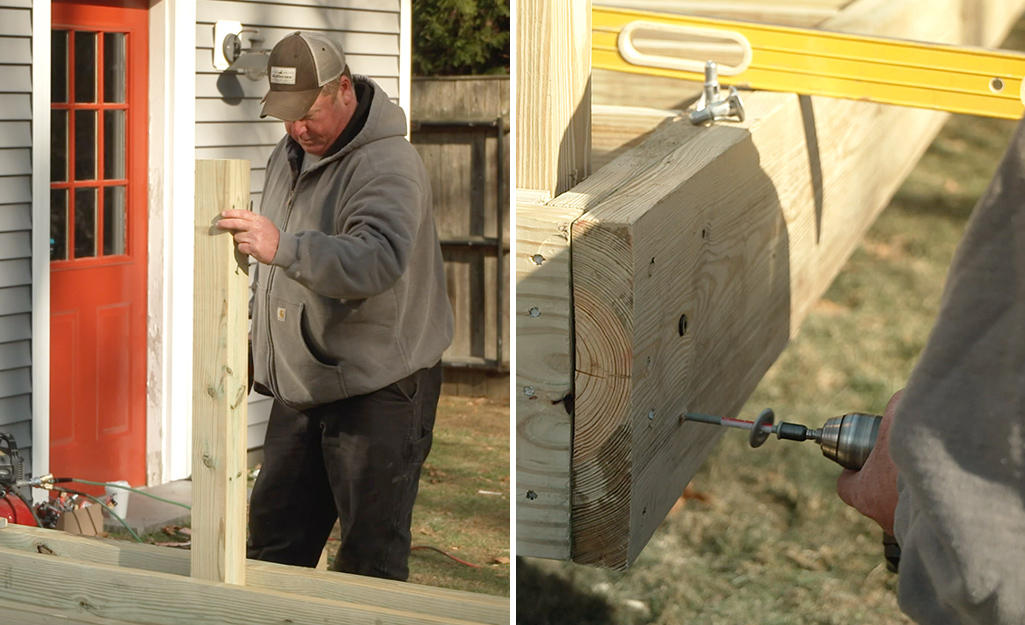 Dual image of a person placing a railing post and a close-up of driving fasteners to secure the railing post.
