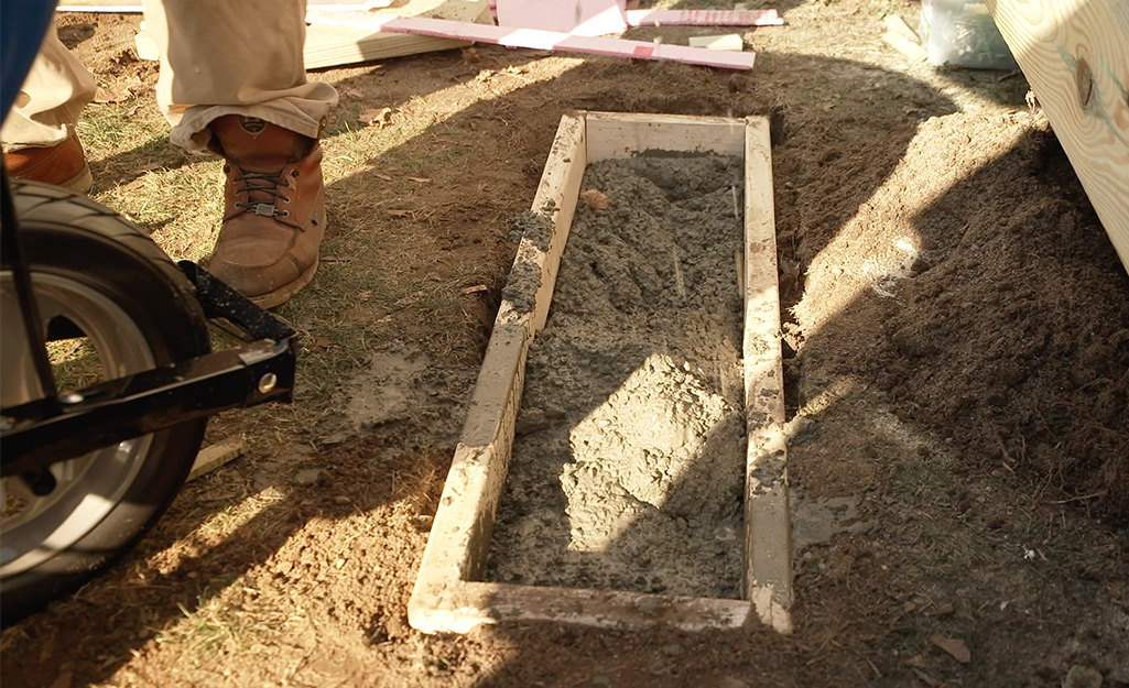 A concrete pad for stairs.