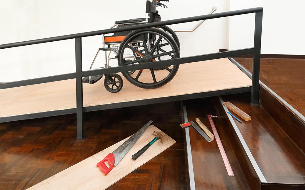 A wheelchair on a ramp.