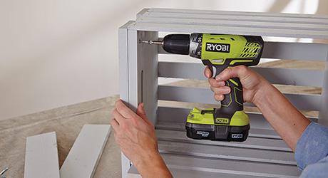 Attach legs - Build Wooden Crate Storage Bench