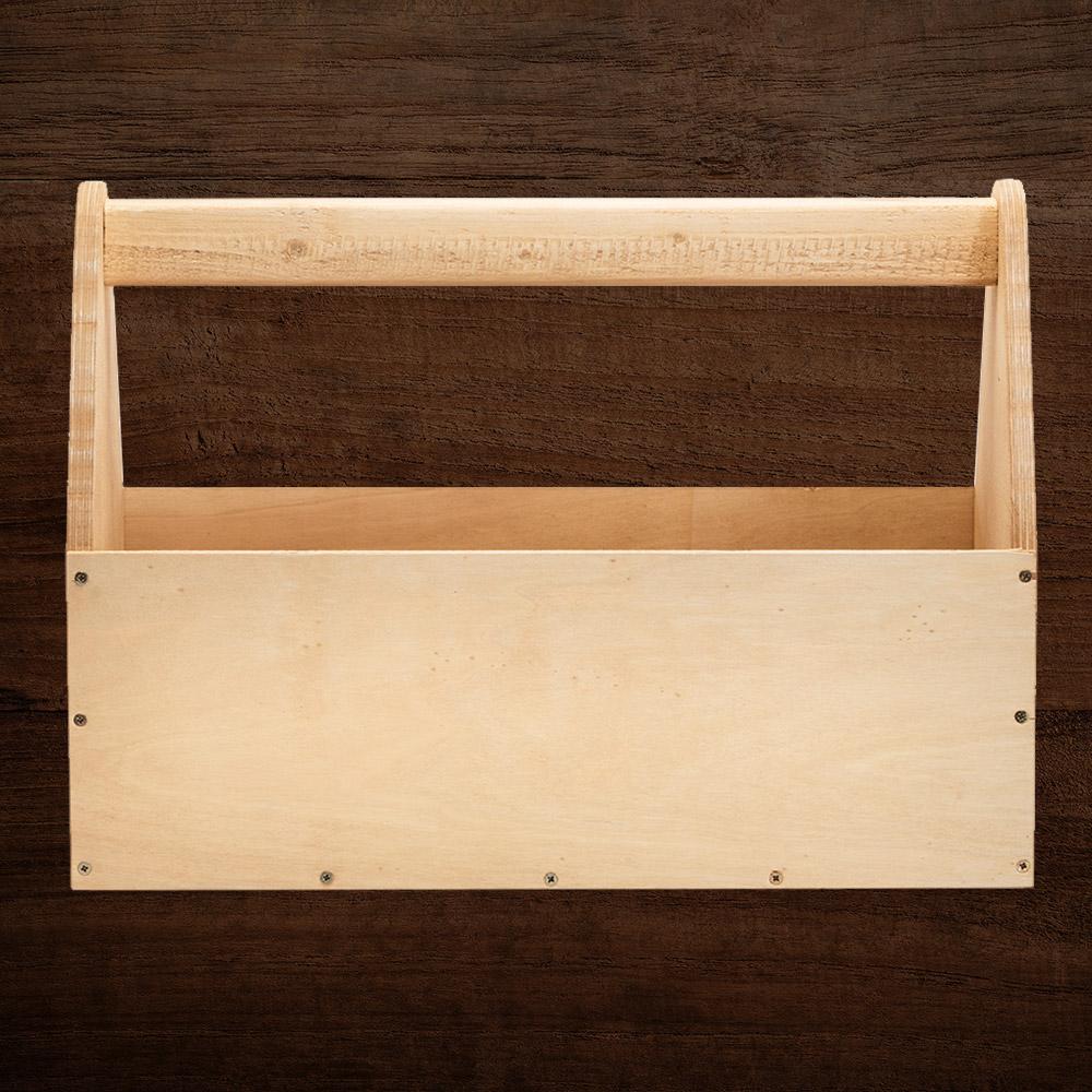 A wooden toolbox.