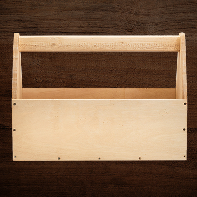 A wooden toolbox.