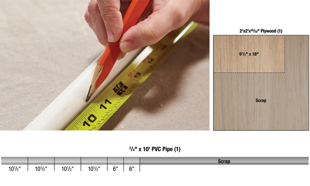 A plywood board and a PVC pipe showing the pieces needed to build a DIY crate table.