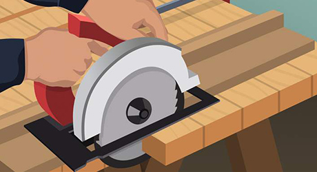 Illustration of someone trimming shelf risers using a circular saw.