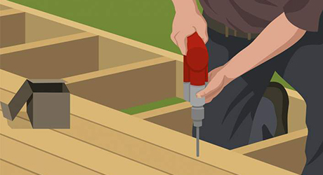 diagram showing fasteners being drilled into decking