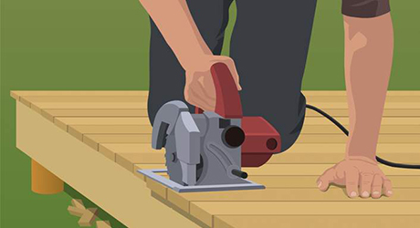 diagram showing a deck being trimmed with a circular saw