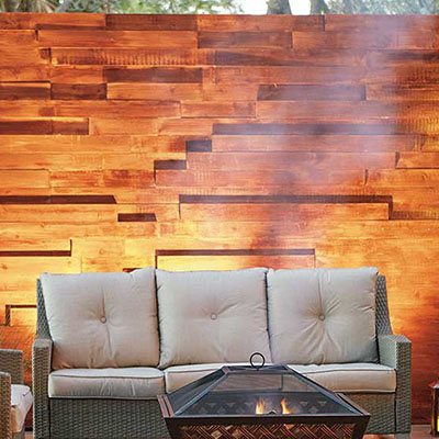 A privacy wall in a backyard