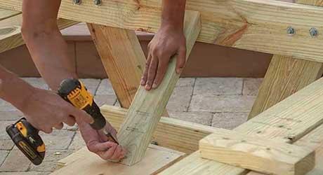 Position each brace - How Build Picnic Table