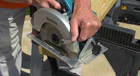 Cut bench slats - How Build Picnic Table