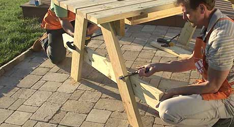 Clamp benches supports - How Build Picnic Table