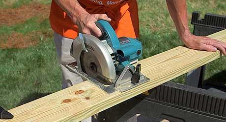 Cut table legs - Build Picnic Table