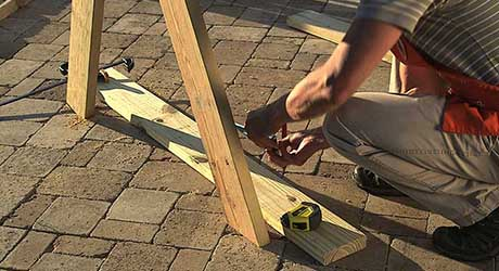 Mark bench supports - How Build Picnic Table