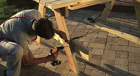 Shape bench supports - Build Picnic Table