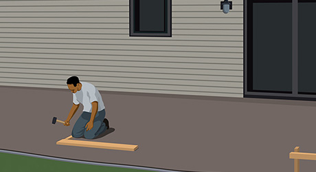 illustration of a person laying out footings