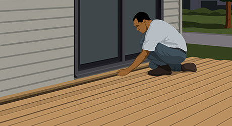 Illustration of a person installing decking boards