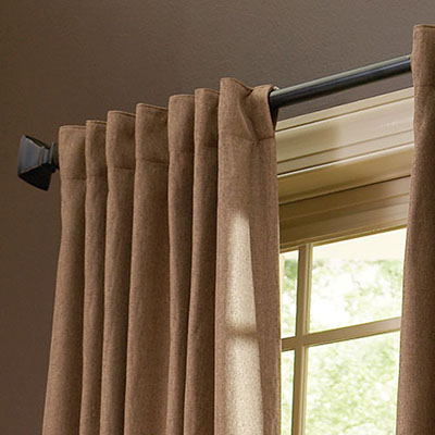 Curtains hanging from a curtain rod